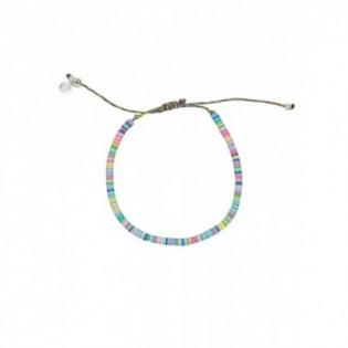 Bracelet cordon disques en vinyle africain bleu