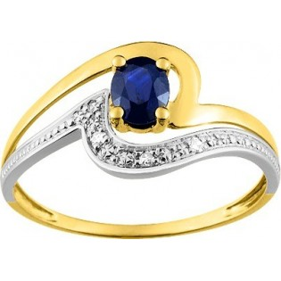 BAGUE EN OR SAPHIR ET DIAMANTS